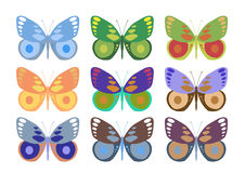 Jogo de borboletas coloridas Imagens de Stock