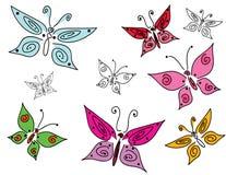 Jogo de borboletas coloridas do doodle Imagem de Stock