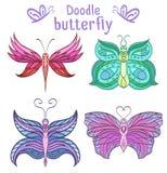 Jogo de borboletas coloridas do doodle Foto de Stock
