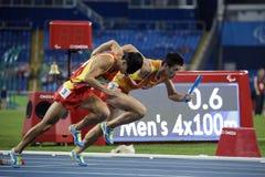 Jogo 2016 de Brasil - de Rio De janeiro - de Paralympic atletismo de 400 medidores Fotografia de Stock Royalty Free