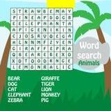 Jogo de busca da palavra. animais Imagens de Stock Royalty Free