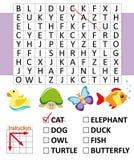 Jogo de busca da palavra com animais Fotografia de Stock Royalty Free