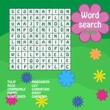 Jogo de busca da palavra. flores Imagem de Stock