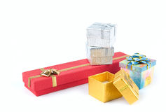 Jogo de caixas de presente Imagens de Stock Royalty Free