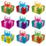 Jogo de caixas de presente Fotografia de Stock