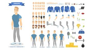 Jogo de caracteres atlético do homem para a animação ilustração do vetor