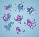 Jogo de caracteres bonito do vetor dos robôs Imagem de Stock Royalty Free