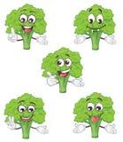 Jogo de caracteres bonito dos brócolis Ilustração do vetor dos desenhos animados ilustração do vetor