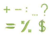 Jogo de caracteres com ervilhas verdes Fotos de Stock Royalty Free