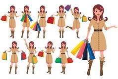 Jogo de caracteres de compra dos desenhos animados da mulher Caráteres do vetor da menina que guardam sacos de compras ilustração do vetor
