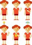 Jogo de caracteres da mulher em poses diferentes Imagens de Stock