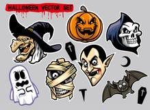 Jogo de caracteres de Dia das Bruxas ilustração stock