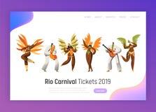Jogo de caracteres do dançarino do carnaval de Brasil Dança da mulher no traje exótico da pena em Rio de janeiro Tropical Happy H imagem de stock royalty free