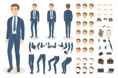 Jogo de caracteres do homem de negócios Fotografia de Stock Royalty Free