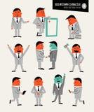 Jogo de caracteres do homem de negócios no estilo retro dos desenhos animados ilustração royalty free