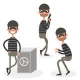 Jogo de caracteres do ladrão dos desenhos animados isolado no branco Ilustração do vetor ilustração stock