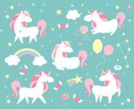 Jogo de caracteres do unicórnio Coleção mágica bonito com unicórnio, arco-íris, coração, as asas feericamente e o balão Vetor do  ilustração royalty free