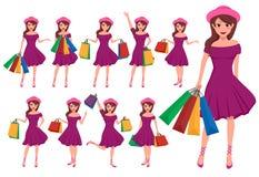 Jogo de caracteres do vetor da menina de compra Personagens de banda desenhada fêmeas ilustração stock