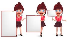 Jogo de caracteres do vetor da menina da forma Jovem mulher com equipamento na moda ilustração do vetor