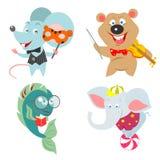 Jogo de caracteres dos animais dos desenhos animados Fotografia de Stock