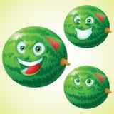 Jogo de caracteres dos desenhos animados da expressão da cara da melancia Imagens de Stock Royalty Free