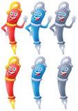 Jogo de caracteres dos desenhos animados da pena de fonte Fotografia de Stock Royalty Free