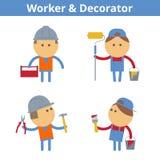 Jogo de caracteres dos desenhos animados das ocupações: trabalhador e decorador Vetor ilustração do vetor