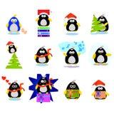 Jogo de caracteres dos desenhos animados do pinguim Fotografia de Stock Royalty Free