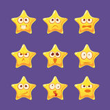 Jogo de caracteres dourado de Emoji da estrela ilustração do vetor