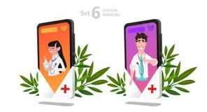 Jogo de caracteres em linha do doutor, consulta paciente ilustração stock