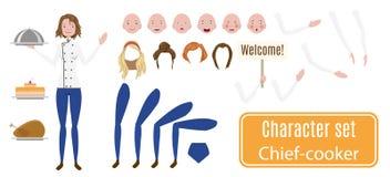Jogo de caracteres fêmea do cozinheiro chefe Poses e emoções Fotografia de Stock Royalty Free