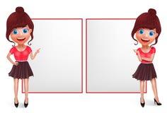 Jogo de caracteres de fala do vetor da menina Exibição adolescente nova da mulher da forma e apontar a placa branca ilustração stock