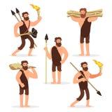 Jogo de caracteres primitivo dos desenhos animados dos homens da Idade da Pedra ilustração royalty free