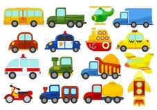 Jogo de carros diferentes no fundo branco Imagens de Stock