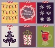 Jogo de cartão do Natal Fotografia de Stock Royalty Free