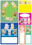 Jogo de cartão dos animais dos desenhos animados Fotografia de Stock