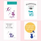Jogo de cartões bonitos Imagens de Stock Royalty Free