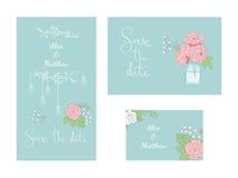 Jogo de cartões de casamento Imagens de Stock Royalty Free