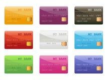 Jogo de cartões de crédito coloridos ilustração stock