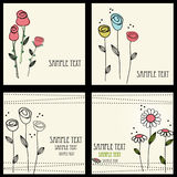 Jogo de cartões floral Ilustração do Vetor