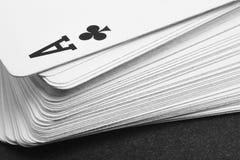 Jogo de cartas com o ás do detalhe dos clubes Rebecca 36 Fotografia de Stock Royalty Free