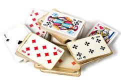 Jogo de cartas velho fotografia de stock royalty free