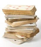 Jogo de cartas velho fotografia de stock