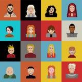 Jogo de caráteres dos tronos, de emojis dos ícones e de desenhos animados Fotografia de Stock