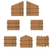 Jogo de cercas de madeira nIsolated no fundo branco ilustração royalty free