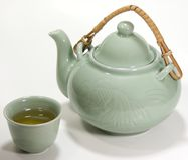 Jogo de chá asiático com chá verde Imagem de Stock Royalty Free