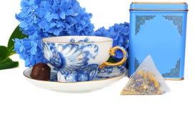 Jogo de chá azul. fotografia de stock
