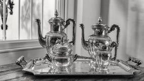 Jogo de chá de prata antigo Fotos de Stock Royalty Free