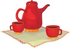 Jogo de chá do vetor Fotos de Stock Royalty Free