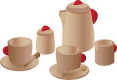 Jogo de chá de madeira do jogo Fotografia de Stock